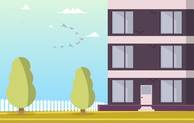 Vector ilustración patio edificio residencial