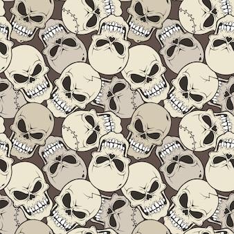 Vector ilustración de patrones sin fisuras con dibujos animados de calavera