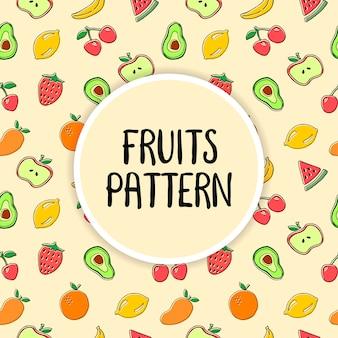 Vector de ilustración de patrones sin fisuras de frutas