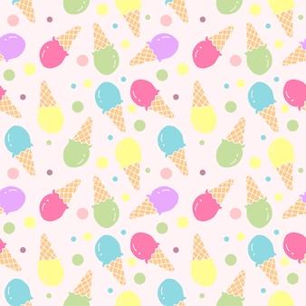 Vector de ilustración de patrones sin fisuras de helado