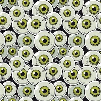 Vector ilustración de patrones sin fisuras con zombie globo ocular