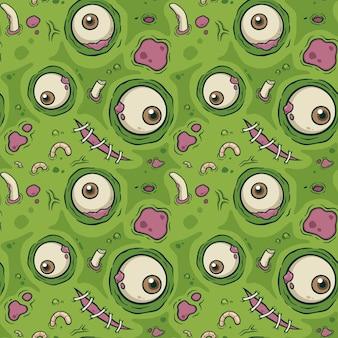 Vector ilustración de patrones sin fisuras con zombie