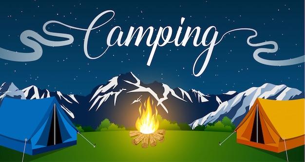 Vector ilustración plana camping.