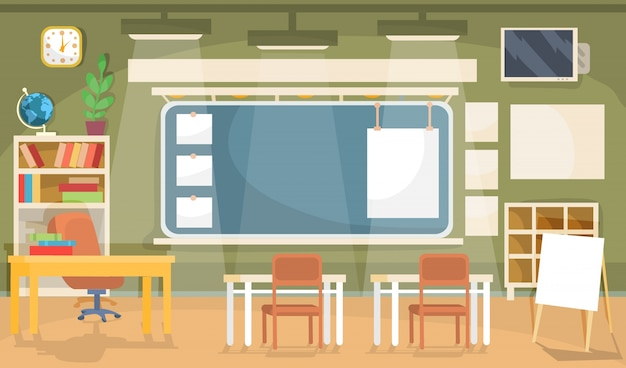 Vector ilustración plana de un aula vacía en una escuela, universidad, colegio, instituto