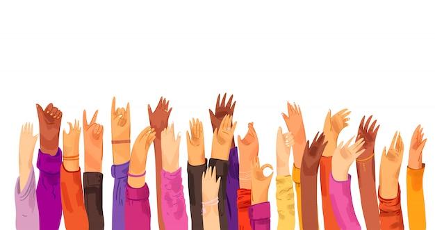 Vector ilustración plana de manos humanas levantadas, multirraciales. concepto de educación, formación empresarial, voluntarios, votación - manos levantadas en cuclillas, aislado