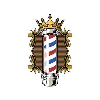 Vector de ilustración de polo barber vintage ornament