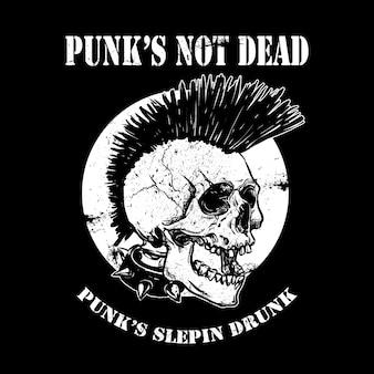 Vector ilustración punk cráneo con mohawk