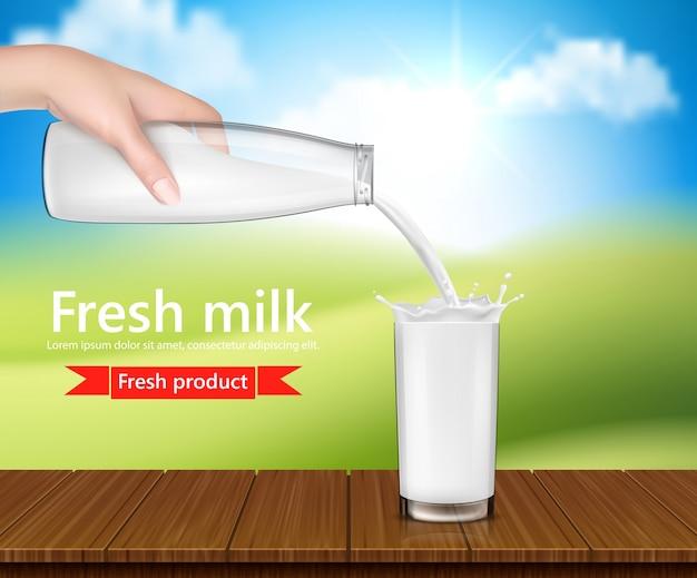 Vector ilustración realista, fondo con la mano la celebración de una botella de vidrio de leche y verter la leche