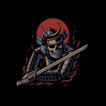 El vector de ilustración de samurai de lucha