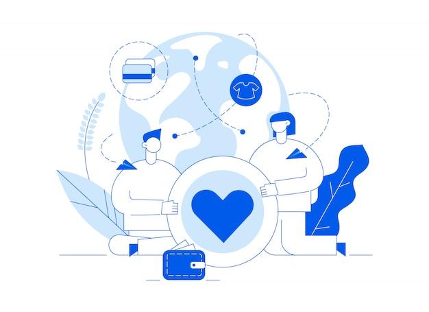 Vector ilustración de servicio de donación con personas grandes, corazón, tierra, voluntario hombre y mujer