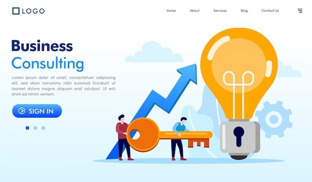 Vector de ilustración de sitio web de página de aterrizaje de consultoría de negocios
