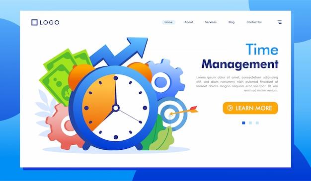 Vector de ilustración de sitio web de página de aterrizaje de gestión de tiempo