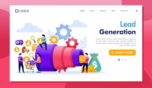 Vector de ilustración de sitio web de página de destino de generación de leads