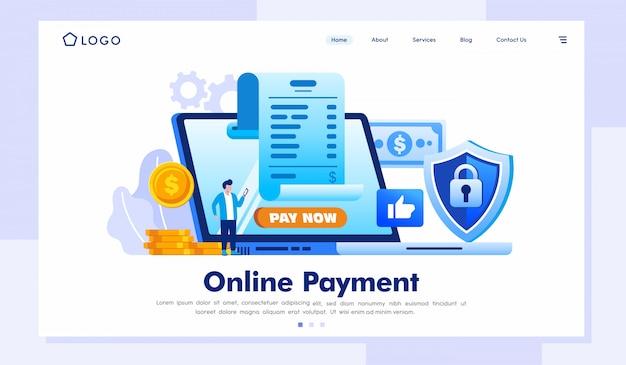 Vector de ilustración de sitio web de página de destino de pago en línea