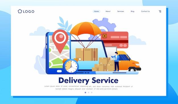 Vector de ilustración de sitio web de página de destino de servicio de entrega