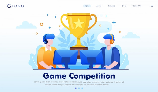 Vector de ilustración de sitio web de página de inicio de competencia de juego