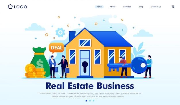 Vector de ilustración de sitio web de página de inicio de negocios inmobiliarios