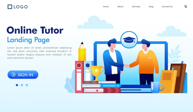 Vector de ilustración de sitio web de página de inicio de tutor en línea