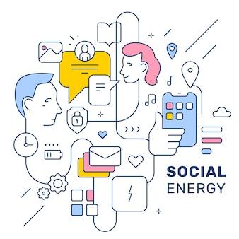 Vector ilustración social creativa con cabeza de personas, icono y texto sobre fondo de color blanco. diseño de estilo de arte lineal para web, sitio, banner, cartel.