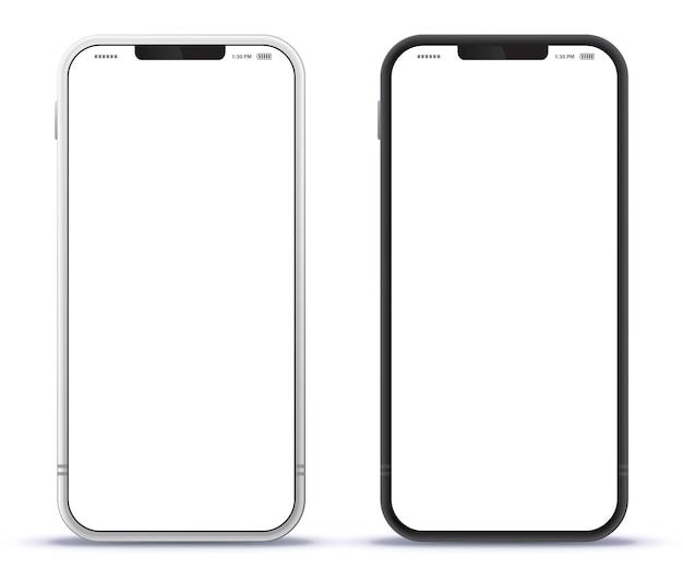 Vector ilustración de teléfono móvil con diseño de color negro y plateado