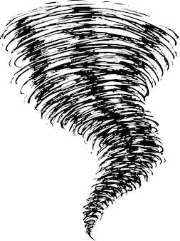 Vector de ilustración de tornado de doodle aislado en blanco