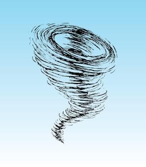 Vector de ilustración de tornado doodle aislado en blu