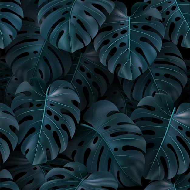 Vector ilustración tropical con hojas verdes monstera sobre fondo oscuro