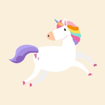 Vector de ilustración de unicornio mágico del arco iris