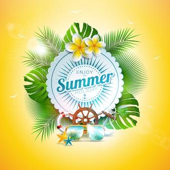 Vector ilustración de vacaciones de verano con hojas tropicales