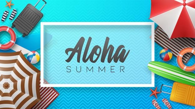 Vector ilustración de vacaciones de verano con pelota de playa, hojas de palma, tabla de surf y letra de tipografía en el patrón.