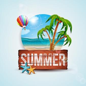Vector ilustración de vacaciones de verano con tablero de madera y palmeras exóticas