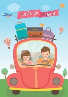 Vector de la ilustración de vamos viaje.
