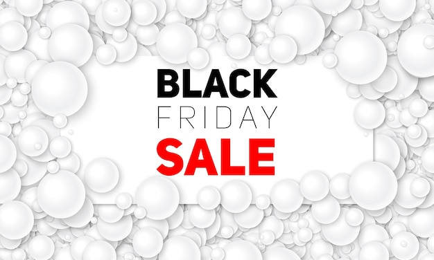 Vector ilustración de venta de viernes negro de tarjeta blanca colocada en perlas blancas o esferas