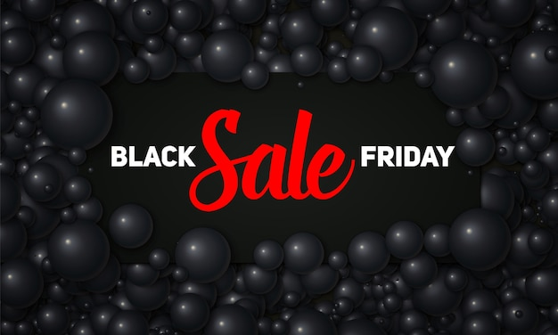 Vector ilustración de venta de viernes negro de tarjeta negra colocada en perlas negras o esferas