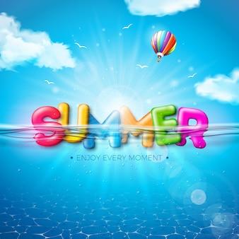 Vector la ilustración del verano con la letra colorida de la tipografía 3d en fondo subacuático del océano azul. diseño realista de vacaciones y vacaciones