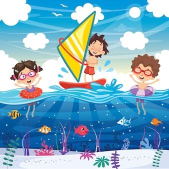 Vector ilustración de verano niños