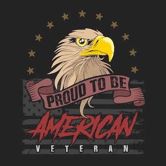 Vector de ilustración de veterano de cabeza de águila americana