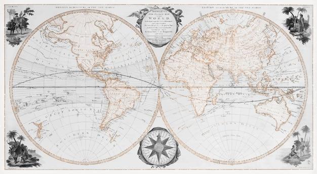 Vector de ilustración vintage de mapa mundial de bolsillo, remezcla de ilustraciones originales.