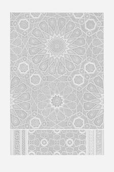 Vector de ilustración vintage de patrón árabe gris, remezcla de ilustraciones originales