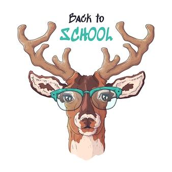 Vector ilustraciones dibujadas a mano. retrato de lindo ciervo realista en gafas.