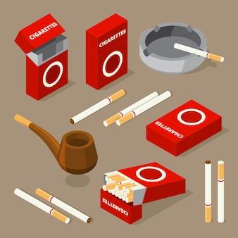 Vector ilustraciones isométricas de cigarrillos y diversos accesorios para fumadores.