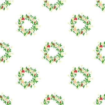 Vector de la imagen de una enredadera con flores rojas y hojas verdes sobre un fondo blanco de patrones sin fisuras