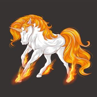 Vector impresionante fuego unicornio