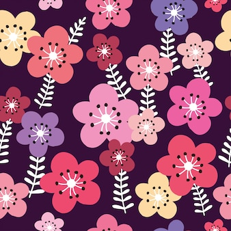Vector inconsútil del modelo del fondo floral y oscuro colorido.