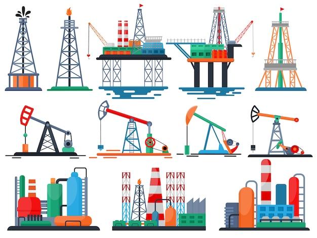 Vector de la industria petrolera productos oleosos tecnología engrasada produciendo conjunto de bomba de combustible de perforación de equipo industrial grúa aislado