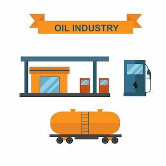 Vector de la industria de las ranuras productoras de petróleo y gasolina.