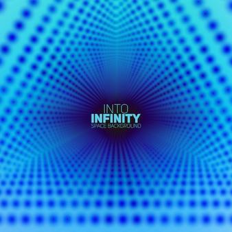 Vector infinito túnel triangular de brillantes bengalas en el fondo. los puntos brillantes forman sectores de túnel.