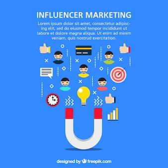 Vector de influencer marketing con magneto y símbolos