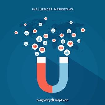 Vector de influencer marketing con magneto