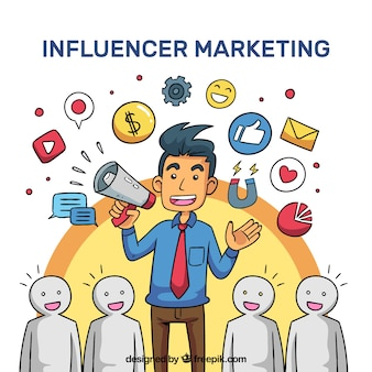 Vector de influencer marketing con multitud escuchando